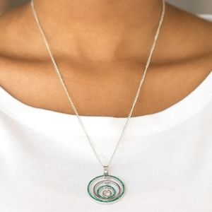 """Upper East Side""-Green Rhinestone Circle Necklace"